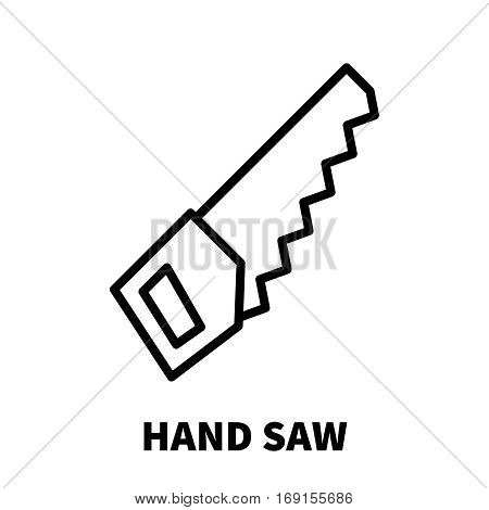 Hand saw icon or logo in modern line style. High quality black outline pictogram for web site design and mobile apps. Vector illustration on a white background.