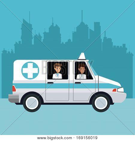people driving ambulance cityscape vector illustration eps 10