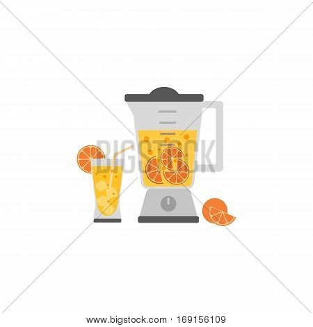 Kitchen appliance isolated on white. Electric juice blender. Home food processor juicer machine. Flat style vector. Design element fresh drink kitchenware equipment advertisement background banner