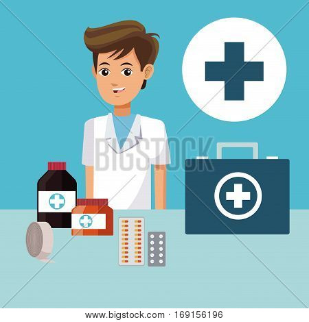 paramedic people cross medicine healthcare vector illustration eps 10