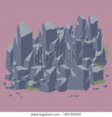 Rock stone vector icon. Set of  different boulders