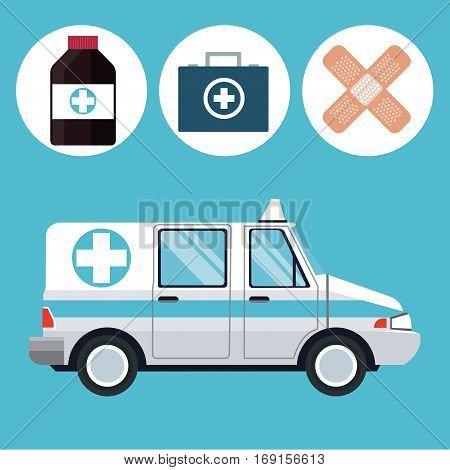 ambulance emergency vehicle medicine icons vector illustration eps 10