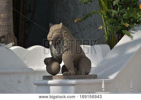 Moorish style architecture and cobblestone streets with plazas and fountains is a hallmark of Las Hadas Resort in Manzanillo, Colima, Mexico. poster