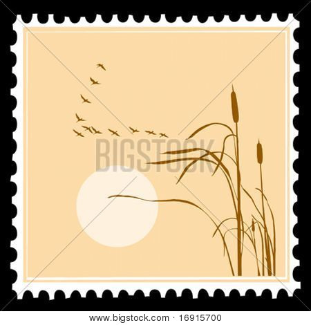vector postage stamps on black background