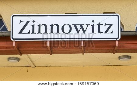 town sign Zinnowitz at the old railway station Usedom