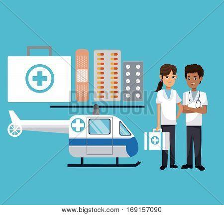staff medical medicine helicopter vector illustration eps 10