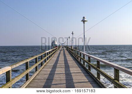 Pier, Vineta Bridge And Submarine At Zinnowitz