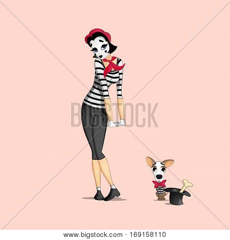 A girl mime performing a pantomime called too shy with the dog mime looking at a bone in a hat