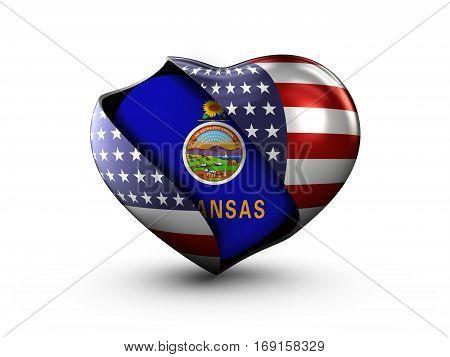 USA State Kansas flag on white background. 3d Illustration.