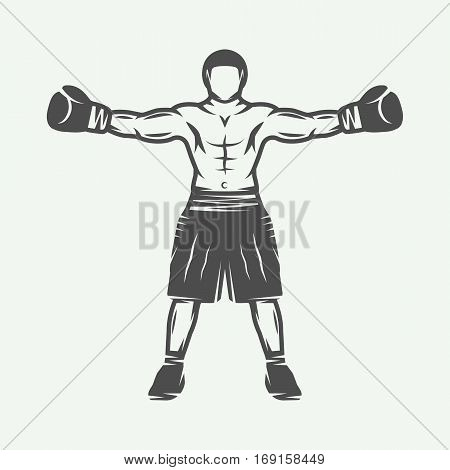 Vintage retro boxer. Can be used for logo badge emblem mark label. Graphic Art. Vector Illustration.