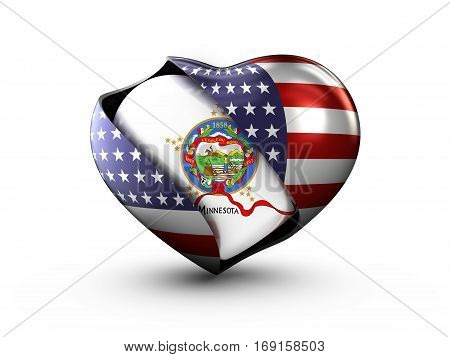 USA State Minnesota flag on white background. 3d Illustration.