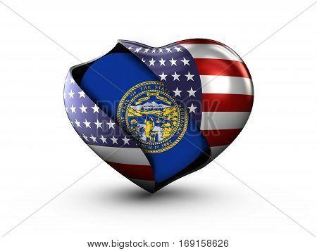 USA State Nebraska flag on white background. 3d Illustration.