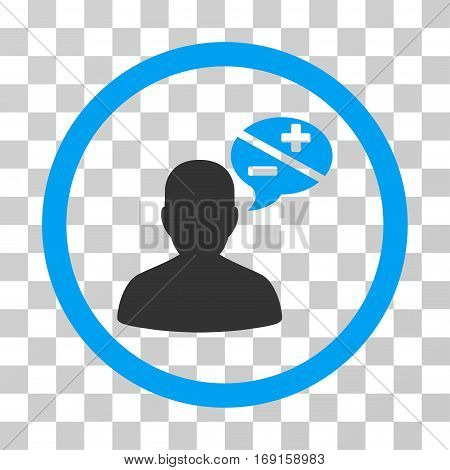 Person Arguments icon. Vector illustration style is flat iconic bicolor symbol blue and gray colors transparent background. Designed for web and software interfaces.