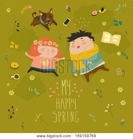 Happy kids lying on the meadow grass full of spring flowers. Vector spring card