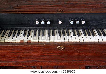white keys on old harpsichord