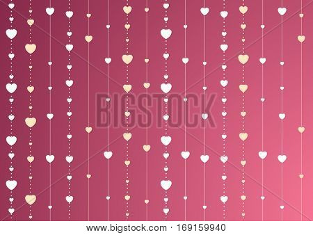 Pink and purple St Valentines Day vector background with hearts