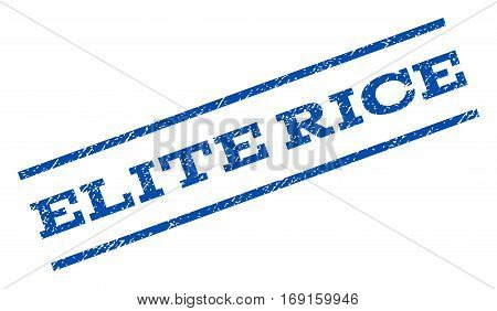 Elite Rice watermark stamp. Text caption between parallel lines with grunge design style. Rotated rubber seal stamp with unclean texture. Vector blue ink imprint on a white background.