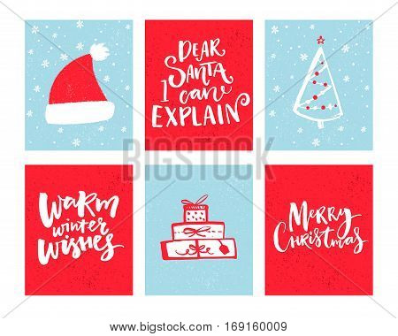 Christmas cards set. Vector Christmas design with hand drawn elements and lettering. Dear Santa, let me explain. Warm winter wishes