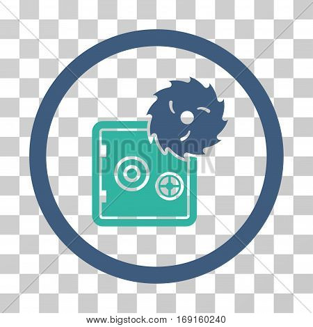 Break Safe icon. Vector illustration style is flat iconic bicolor symbol cobalt and cyan colors transparent background. Designed for web and software interfaces.