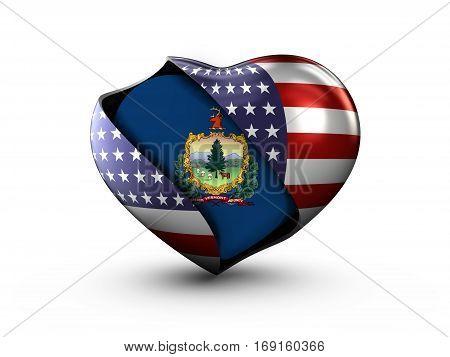 USA State Vermont flag on white background. 3d Illustration.