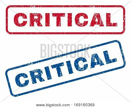 Critical text rubber seal stamp watermarks. Vector style is blue and red ink tag inside rounded rectangular banner. Grunge design and dirty texture. Blue and red signs.