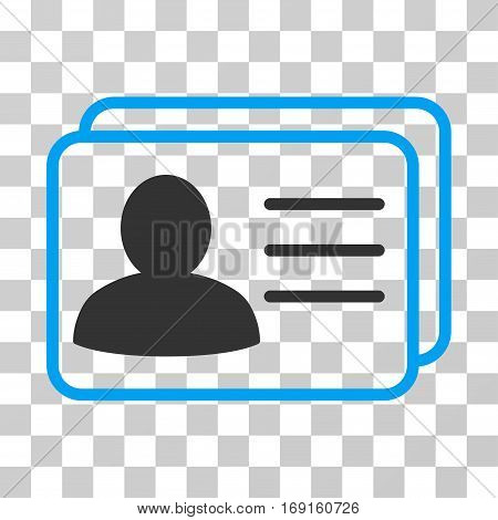 Account Cards icon. Vector illustration style is flat iconic bicolor symbol blue and gray colors transparent background. Designed for web and software interfaces.