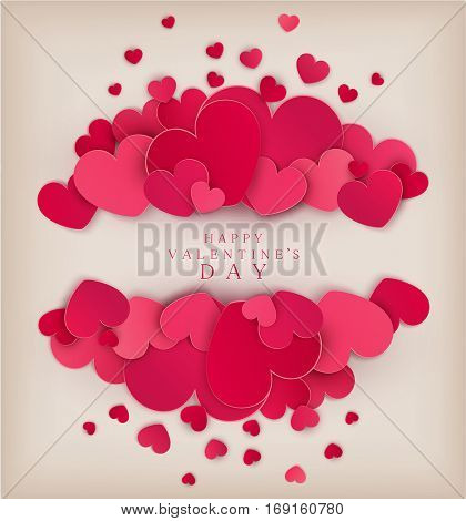 Vector festive background Valentine's Day. Template for postcards. Red hearts on a beige background with a card for the text