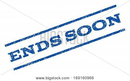 Ends Soon watermark stamp. Text caption between parallel lines with grunge design style. Rotated rubber seal stamp with unclean texture. Vector blue ink imprint on a white background.