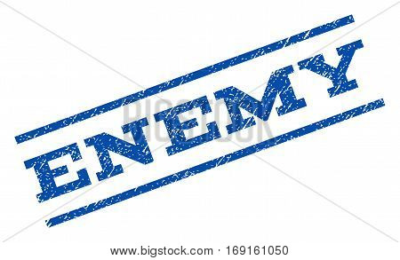 Enemy watermark stamp. Text tag between parallel lines with grunge design style. Rotated rubber seal stamp with dirty texture. Vector blue ink imprint on a white background.