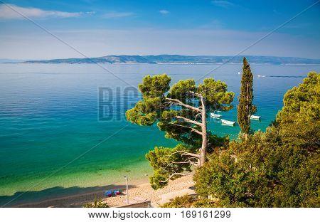 beautiful landscape with Adriatic sea in the Brela resort Dalmatia Croatia