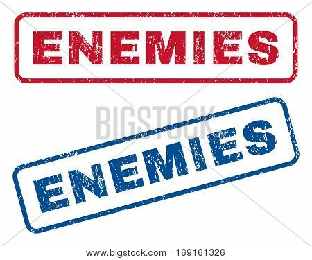 Enemies text rubber seal stamp watermarks. Vector style is blue and red ink tag inside rounded rectangular banner. Grunge design and scratched texture. Blue and red stickers.