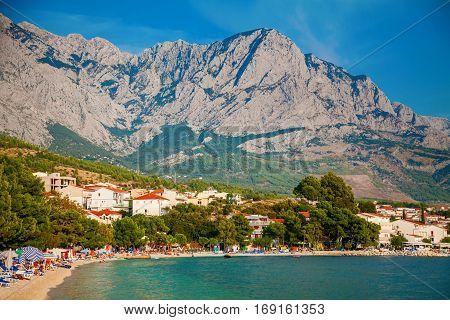 beautiful view of the coastline in Baska Voda resort Croatia