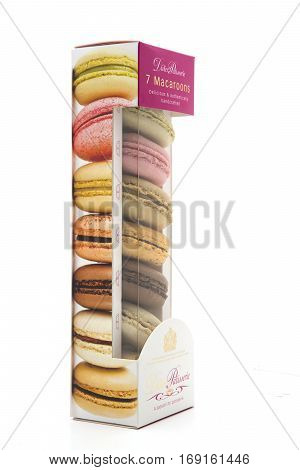 SWINDON UK - FEBRUARY 6 2017: Box of Didier's Patisserie 7 macaroons taken with a white background