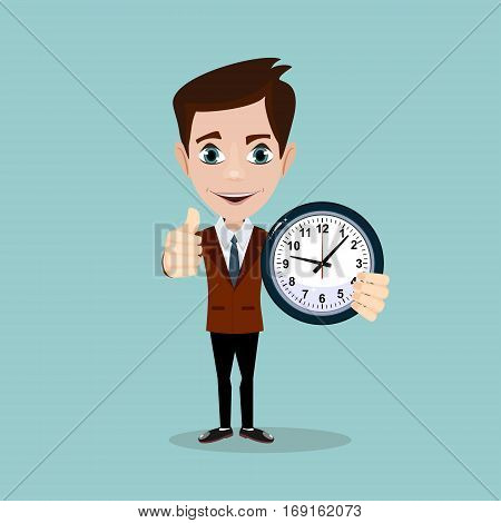 Vector illustration of a smiling cartoon businessman with alarm clocks, thumbs up, symbolizing time management.