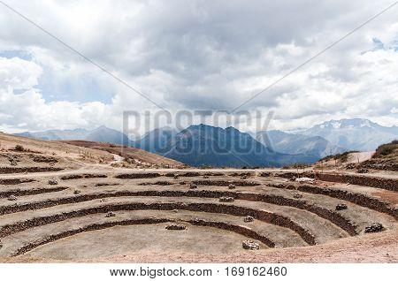 Moray Peru landscape. Mountains landscape. Travel Peru.