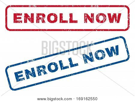 Enroll Now text rubber seal stamp watermarks. Vector style is blue and red ink tag inside rounded rectangular banner. Grunge design and scratched texture. Blue and red stickers.