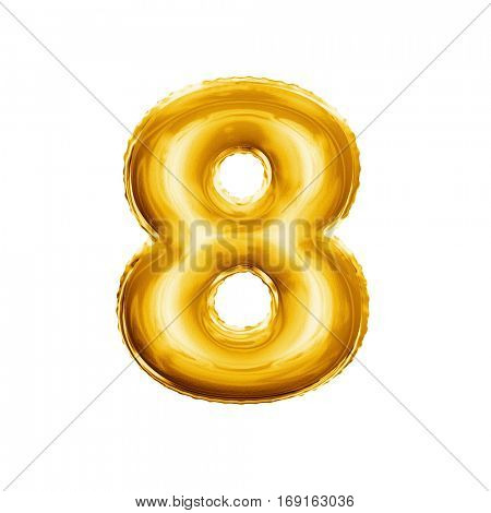 Balloon number 8 Eight. Realistic 3D isolated gold helium balloon abc alphabet golden font text. Decoration element for birthday or wedding greeting design on white background