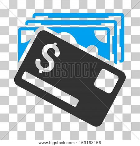 Banknotes And Card icon. Vector illustration style is flat iconic bicolor symbol blue and gray colors transparent background. Designed for web and software interfaces.