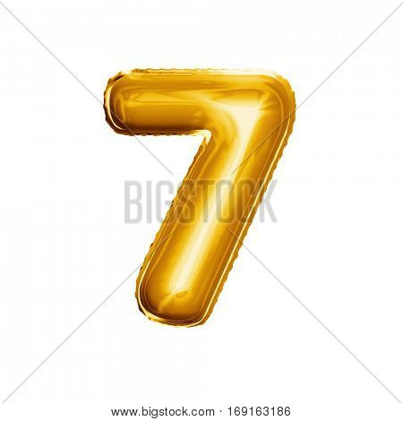 Balloon number 7 Seven. Realistic 3D isolated gold helium balloon abc alphabet golden font text. Decoration element for birthday or wedding greeting design on white background