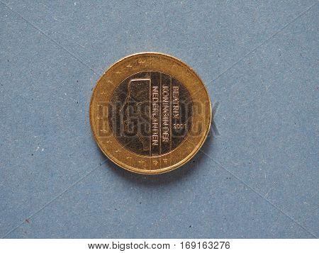 1 Euro Coin, European Union, Netherlands Over Blue