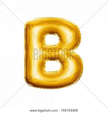 Balloon letter B. Realistic 3D isolated gold helium balloon abc alphabet golden font text. Decoration element for birthday or wedding greeting design on white background