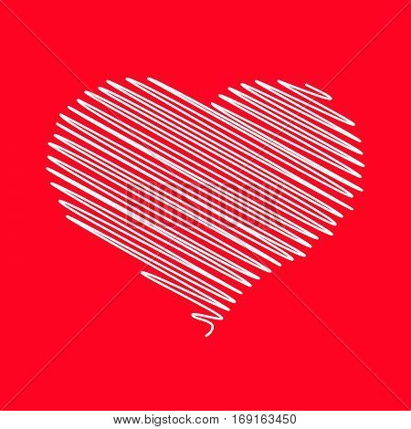 Heart - pencil scribble sketch drawing in white on red background. Valentine card doodle concept. Vector illustration.