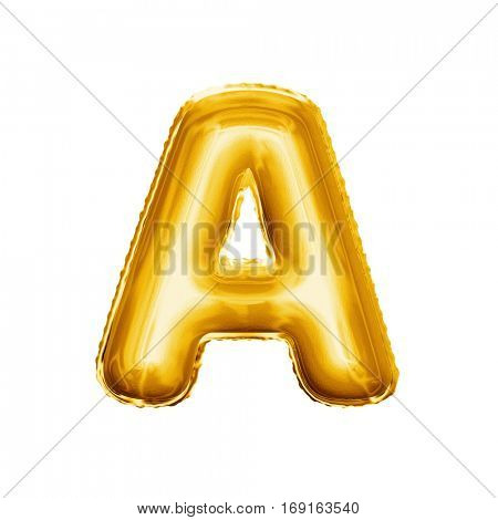 Balloon letter A. Realistic 3D isolated gold helium balloon abc alphabet golden font text. Decoration element for birthday or wedding greeting design on white background