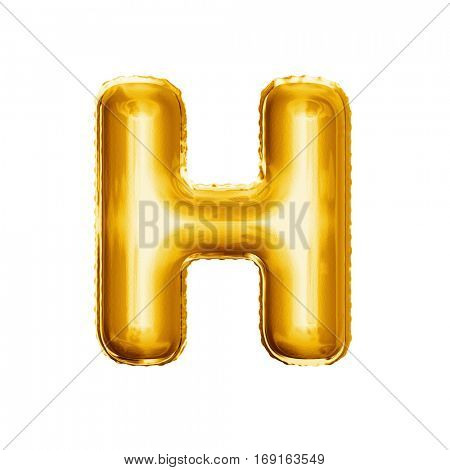 Balloon letter H. Realistic 3D isolated gold helium balloon abc alphabet golden font text. Decoration element for birthday or wedding greeting design on white background