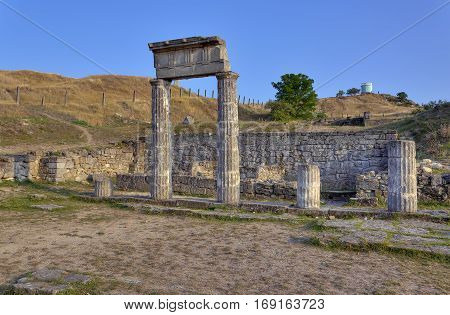 Excavations of the ancient city Pantikapaion. Ancient columns at the ruins of the ancient city.