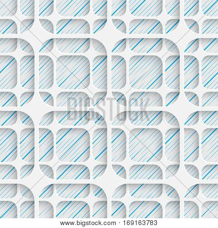 Seamless Elegant Grid Pattern. Abstract Three-dimensional Background. Modern Textile Wallpaper. White and Blue Art Design
