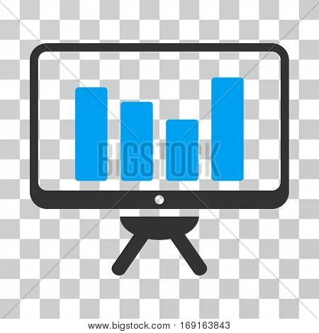 Bar Chart Monitoring Board icon. Vector illustration style is flat iconic bicolor symbol blue and gray colors transparent background. Designed for web and software interfaces.