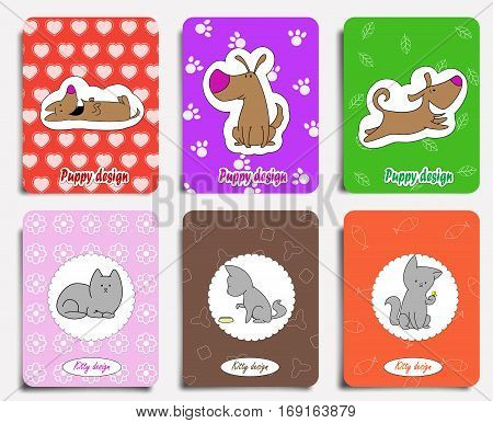 Set of cute cat and dog cards. Can be use for children illustrations, package design, wrapping, mugs, greeting cards or textile design. Vector