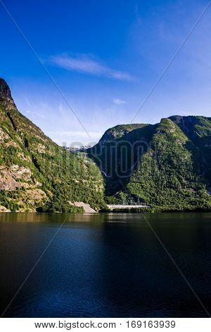 Fjord Landscape With High Mountains And Deep Fjords Of Western Norway