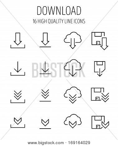 Set of download icons in modern thin line style. High quality black outline load symbols for web site design and mobile apps. Simple download pictograms on a white background.